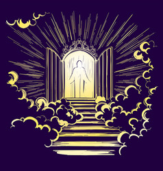 Gates of paradise entrance to the heavenly city vector