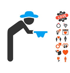 Gentleman beggar icon with love bonus vector