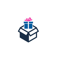 gift box logo icon design vector image