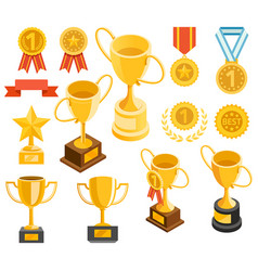 golden trophy and medal material icons vector image
