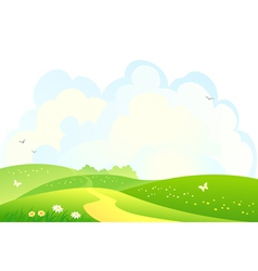Green hills background vector