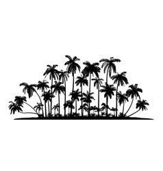 group palms silhouettes vector image