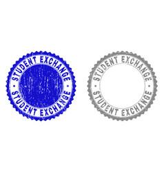 grunge student exchange textured watermarks vector image