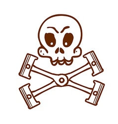 Hand Drawn Engine Pistons with Skull vector image