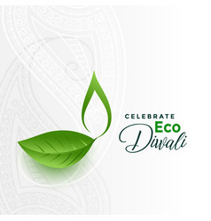 Happy green eco diwali concept design card vector