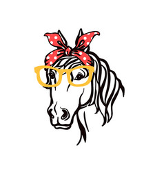 Horse head in bandana and sunglasses silhouette vector