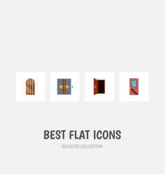 icon flat approach set of elevator frame vector image