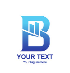 Initial letter b logo template colored blue graph vector