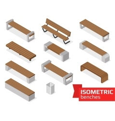 Isometric benches isolated on white vector image