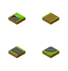 Isometric road set of single-lane subway road vector