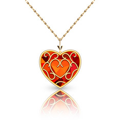 jewelry gold pendant heart made rugemstone vector image