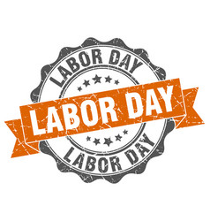Labor day stamp sign seal vector