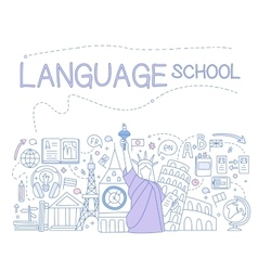 Language school infographics vector