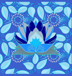 Leaves lotus modern flourish blue neutral and vector