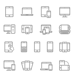 Lines icon set - responsive devices vector