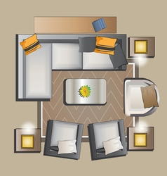 Living room furniture top view set 2 vector