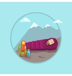 Man lying in sleeping bag in the mountains vector