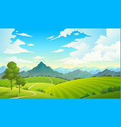 Meadows with mountains landscape hill field vector