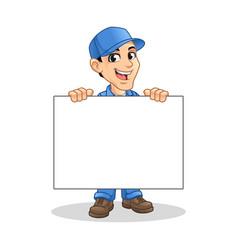 mechanic man holding blank board vector image