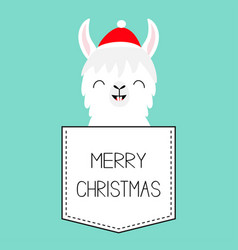 merry christmas llama alpaca sitting in the vector image