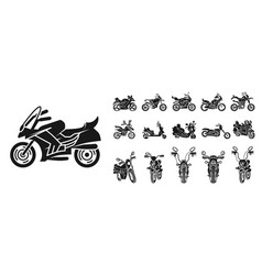 motorbike icons set simple style vector image