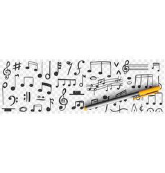 musical notes drawings doodle set vector image