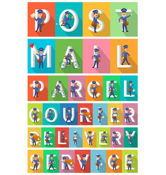 postman in different poses man with letters vector image