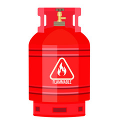 Red gas tank with warning sign flammable gas vector