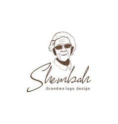 retro vintage granny or grandma logo design vector image