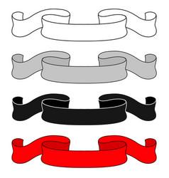 ribbon scrolls colored set vector image