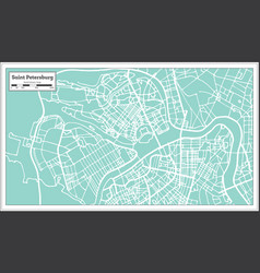 Saint petersburg russia city map in retro style vector