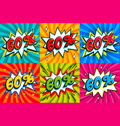 sale set sale sixty percent 60 off tags on a vector image