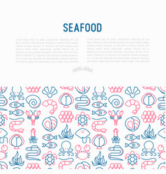 Seafood concept with thin line icons vector