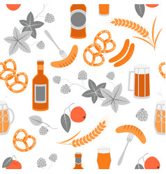 Seamless texture beer pretzels sausages and hops vector