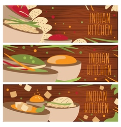 Set of banners for theme indian cuisine with vector