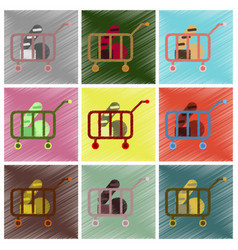 Set of flat icons in shading style shop cart with vector