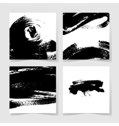 set of four black ink brushes grunge square vector image