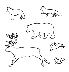 Set of silhouettes of wild animals vector image