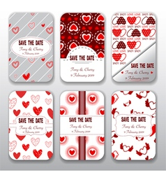 Set of valentine day and wedding templates card vector image