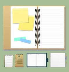 set open realistic notebooks with pages diary vector image
