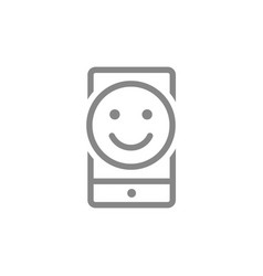 Smartphone with happy face line icon client vector