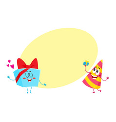 smiling birthday party characters - striped hat vector image