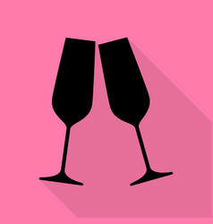 sparkling champagne glasses black icon with flat vector image