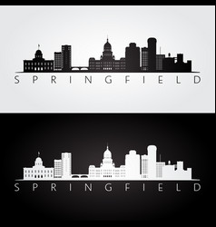 springfield usa skyline and landmarks silhouette vector image