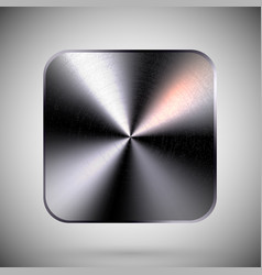 square metallic button template reflective steel vector image
