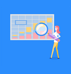 statistical chart or graphic woman with magnifier vector image