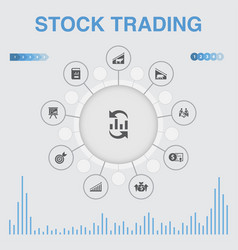 Stock trading infographic with icons contains vector
