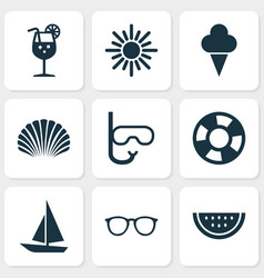 Summer icons set collection of conch sunny vector
