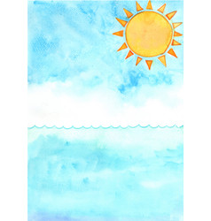 sun with ocean wave watercolor background vector image