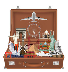 travel landmark in suitcase with airplane vector image